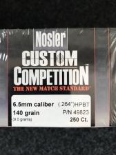 P 6.5MM 140GR NOSLER CUSTOM COMPETITION (100)